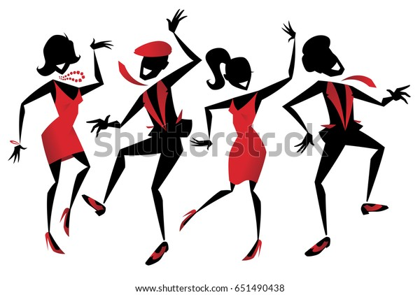 Illustration of a group of energetic Retro styled Jazz dancers.