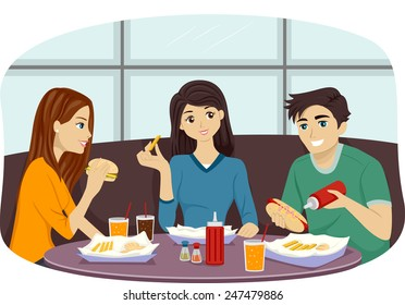 Illustration of a Group of Friends Eating Together in a Fast Food Restaurant