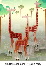 Illustration of a Group of Giraffe Called Herd. Collective Noun eps10