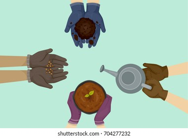 Illustration of a Group of Hands wearing Gardening Gloves holding Seeds, Compost, Seedling and Watering Can