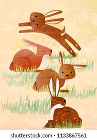 Illustration of a Group of Hares Called Droves. Collective Noun eps10
