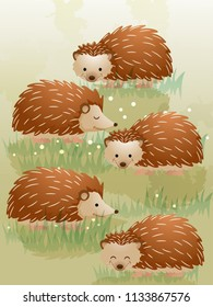 Illustration of a Group of Hedgehog Called Array. Collective Noun. eps10