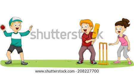 illustration group kids playing cricket park stock vector