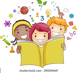 Illustration of a Group of Kids Reading a Book While Education Related Icons Hover in the Background