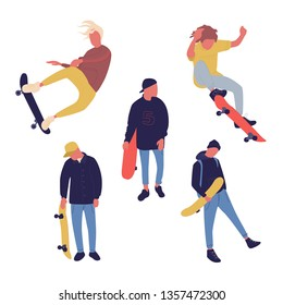 Illustration group of men with skateboard are doing different move. Teenagers culture.