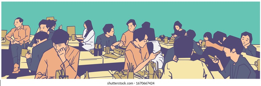 Illustration of group of people friends students conversation studying in pub bar restaurant