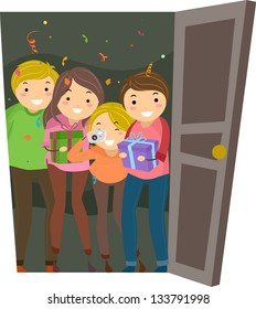 Illustration of Group of People having a Surprise Party for the one who Opened the Door