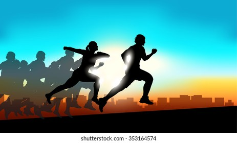 illustration of group silhouettes running people at city on sunset