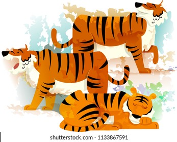 Illustration of a Group of Tigers Called Ambush. Collective Noun eps10