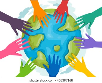 Illustration of a Group of Volunteers Joining Forces for Mother Earth