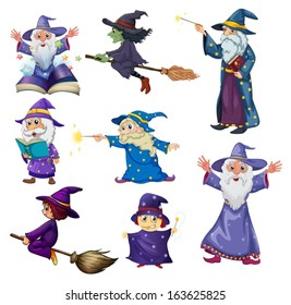 Illustration of a group of wizards on a white background