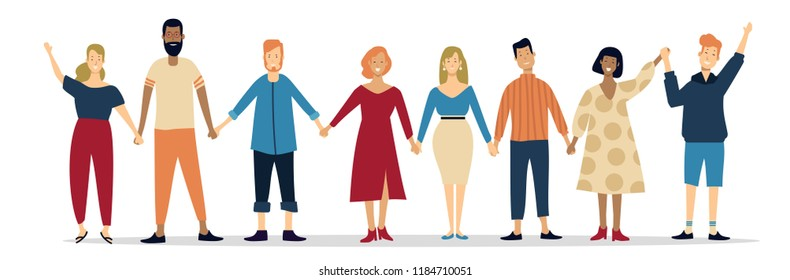 illustration of group of young people holding each other hands with nice smile