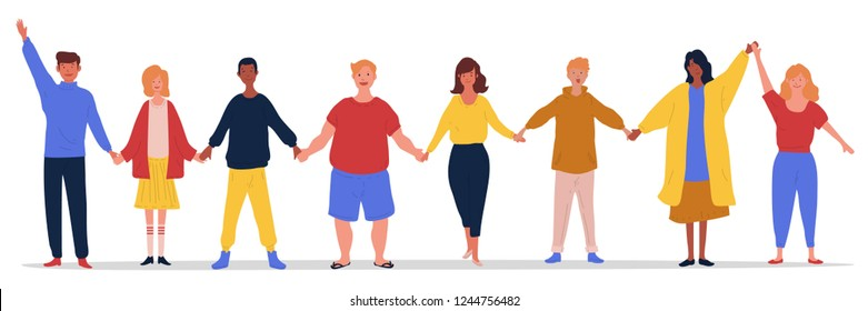 illustration of group of young people holding each other hands with happy expressions on their face. Flat male and female cartoon characters isolated on white background. Colored vector illustration