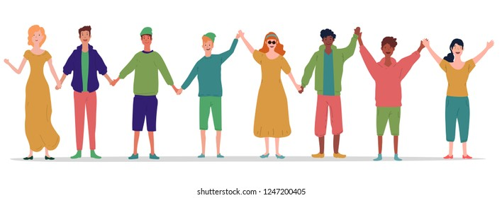 1ad825e98b illustration of group of young people holding their each other hands.  people vector illustration