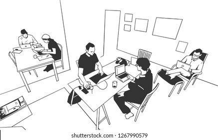 Illustration of group of young people working on project from home office