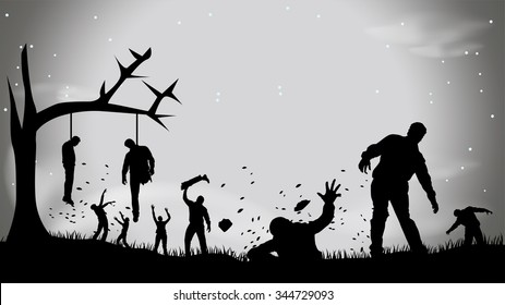 illustration of group of zombies at night in the cemetery