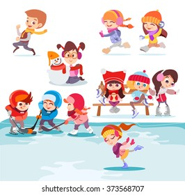 Illustration with groups of cute cartoon kids playing in winter park. Figure skating,making snowman, running together,playing hockey. Vector illustration