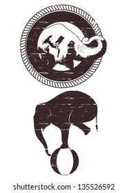 Illustration of grunge Asian elephant in rope frame, silhouette of grunge elephant balancing on a ball, vector