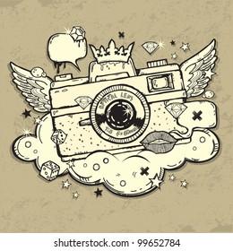 Illustration of grunge photo camera