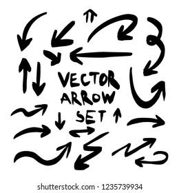 Illustration of Grunge Sketch Handmade Watercolor Doodle Vector Arrow Set