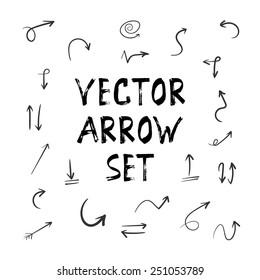 Illustration of Grunge Sketch Handmade Watercolor Doodle Arrow Set