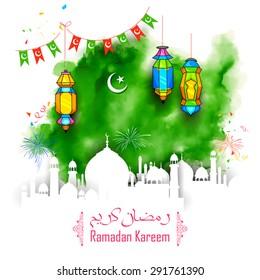 illustration of Grungy Ramadan Kareem (Generous Ramadan) Background with mosque