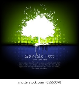 illustration of grungy tree with abstract background