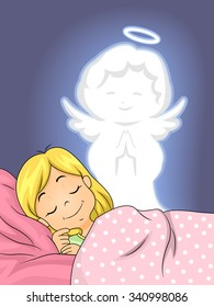 Illustration of a Guardian Angel Watching Over a Little Girl as She Sleeps