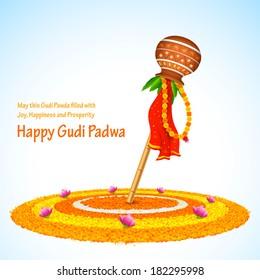 illustration of Gudi Padwa ( Lunar New Year ) celebration of India