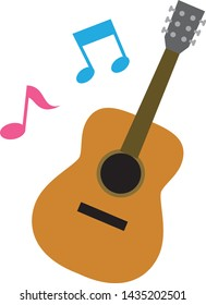 Illustration of guitar and note