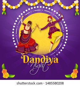 Illustration of gujarati couple performing dandiya dance on the occasion of Dandiya Night party celebration. Can be used as poster or template design.