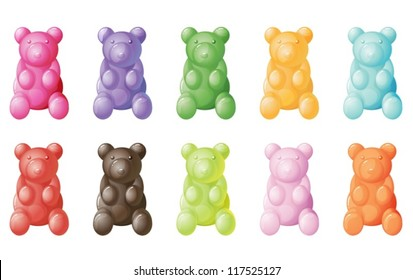 illustration of gummy bears on a white background