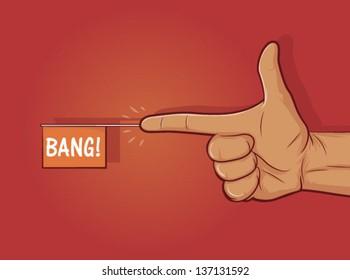 "Illustration of a gun hand gesture with ""bang"" flag/Finger Gun"