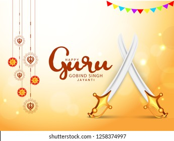 Illustration Of Guru Gobind Singh Jayanti Background.