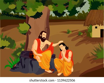 illustration of guru or shishya chemistry , festival for teacher guru purnima