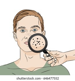 Illustration of a guy with black spots seen in a magnifier on white background