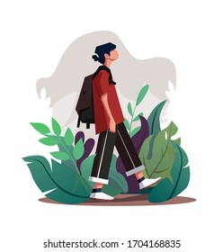 Illustration of a guy walking in a grass with a backpack. teenager walking vector illustration. Young man in casual clothes going down among the leaves. Man with backpack taking a walk, Vector EPS10