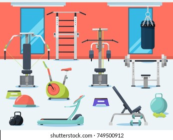 Illustration of gym interior with different sport equipment. Vector sport gym with equipment