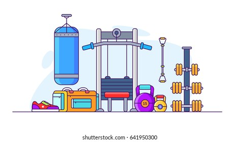 Illustration of gym. Weights, dumbbells, punching bag, bench, bag, and expander. In flat style