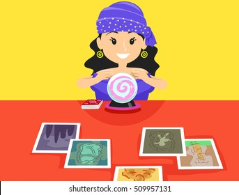 Illustration of Gypsy Girl on Her Desk with Tarot Cards