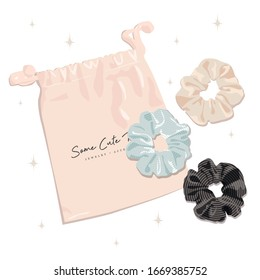Illustration of a hair scrunchies with a pouch. For prints, posters, cards, banners and t-shirt design.