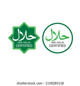 Illustration of Halal logo vector. Halal food emblem .Sign design. Certificate tag. Food product dietary label for apps and websites