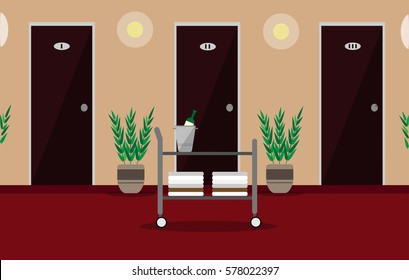 illustration hall or corridor of the hotel or hostel with doors, room service trolley, plants and lamps on the walls