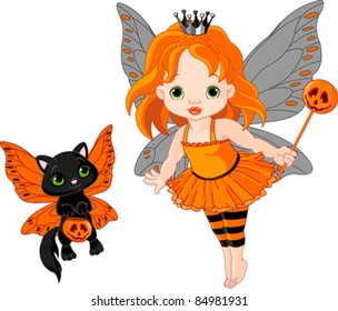 Illustration of Halloween baby fairy and her cat