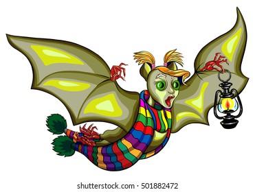 Illustration of a Halloween bat with a flashlight