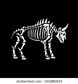 Illustration for Halloween. Bull's skeleton. Isolated on black background. Great for greeting cards, invitations, for printing on T-shirts and more.