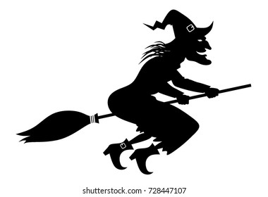 Illustration Halloween Day. Witch on a broomstick on on white.