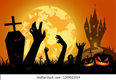 illustration halloween festival on sunset background,full moon on dark night with silhouette zombie hand up from the grave,many ghost and devil walking to castle for celebration halloween day