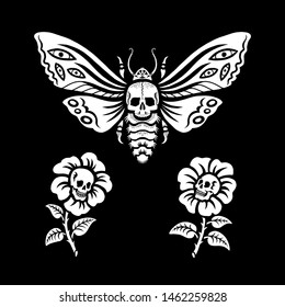 Illustration for Halloween. Flowers with human skulls and dead head hawkmoth. Night moth and flowers with skulls. Isolated on black background. For cards, invitations, T-shirts and more.