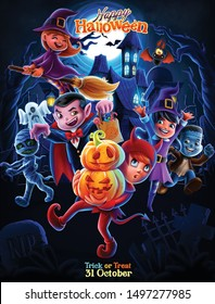 illustration of halloween night with little monsters and cartoon ghosts